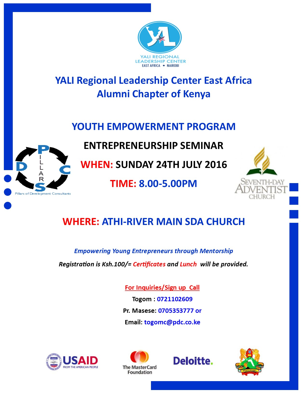 Invitation to participate in a youth entrepreneurship seminar